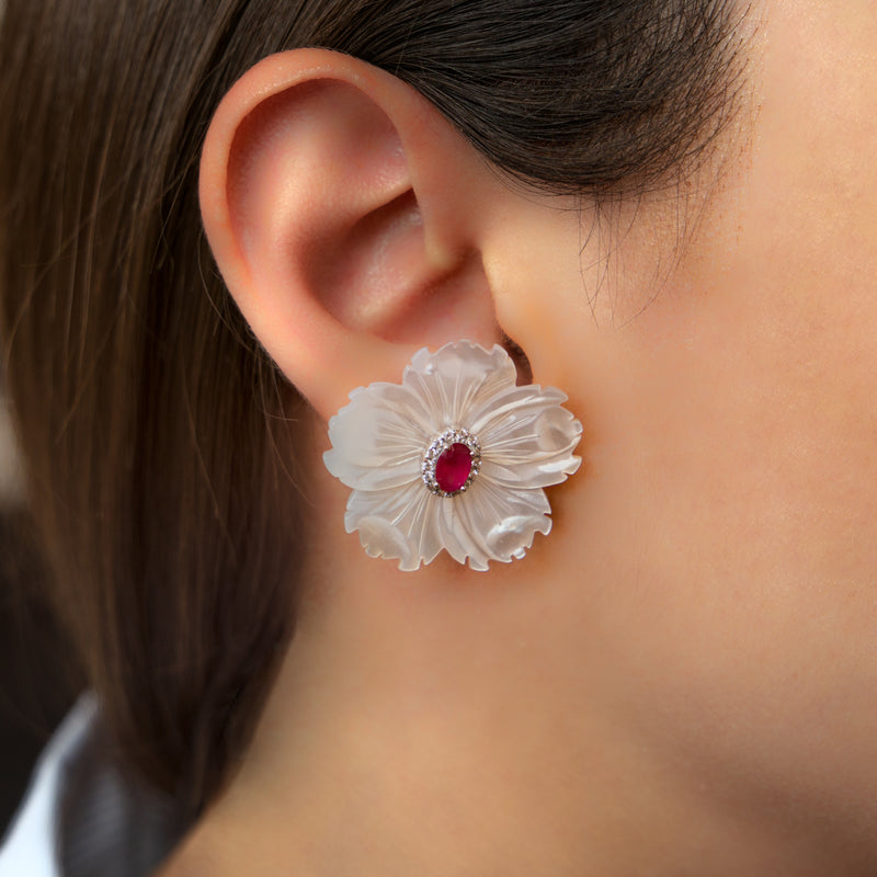 925 SILVER EARRINGS WITH MOTHER OF PEARL FLOWERS AND RED AND WHITE CRYSTALS