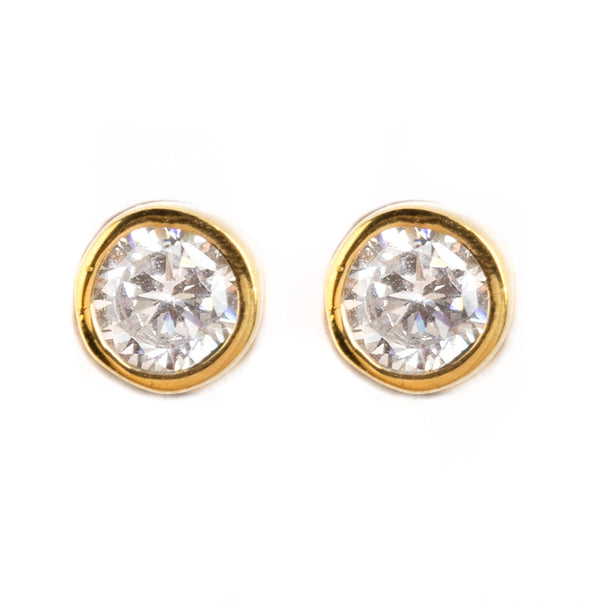 925 SILVER GOLD PLATED EARRINGS WITH CRYSTAL