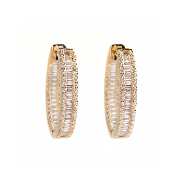 925 SILVER GOLD PLATED HOOPS WITH CRYSTALS