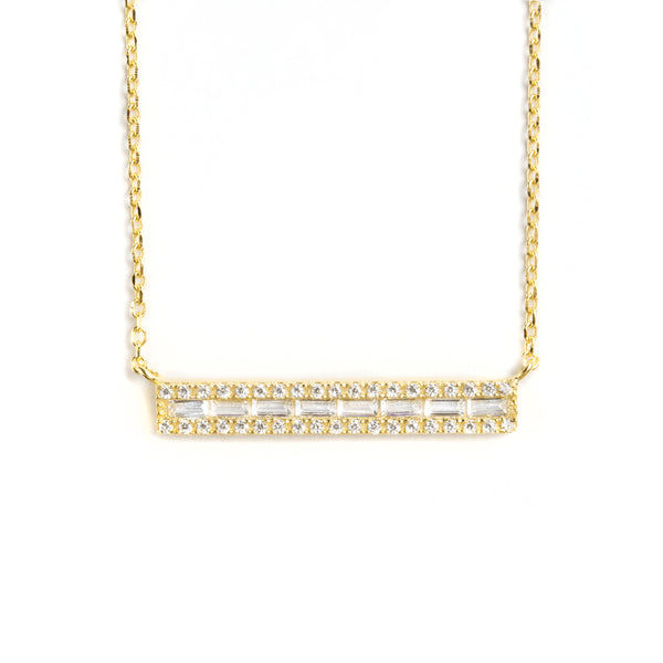 925 SILVER GOLD PLATED CHAIN WITH CRYSTALS BAR