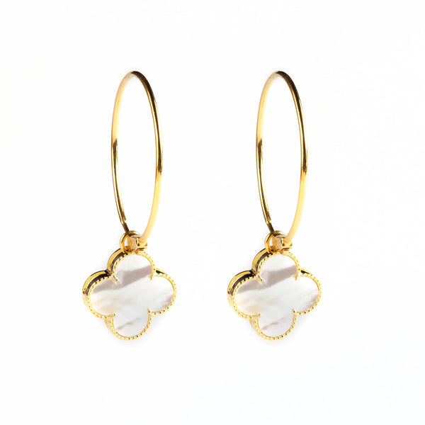 925 SILVER GOLD PLATED LONG HOOPS WITH MOTHER OF PEARL FLOWER