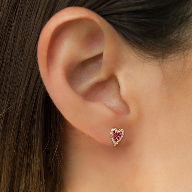 14K ROSE GOLD HEART SHAPE EARRINGS WITH RUBIES AND DIAMONDS