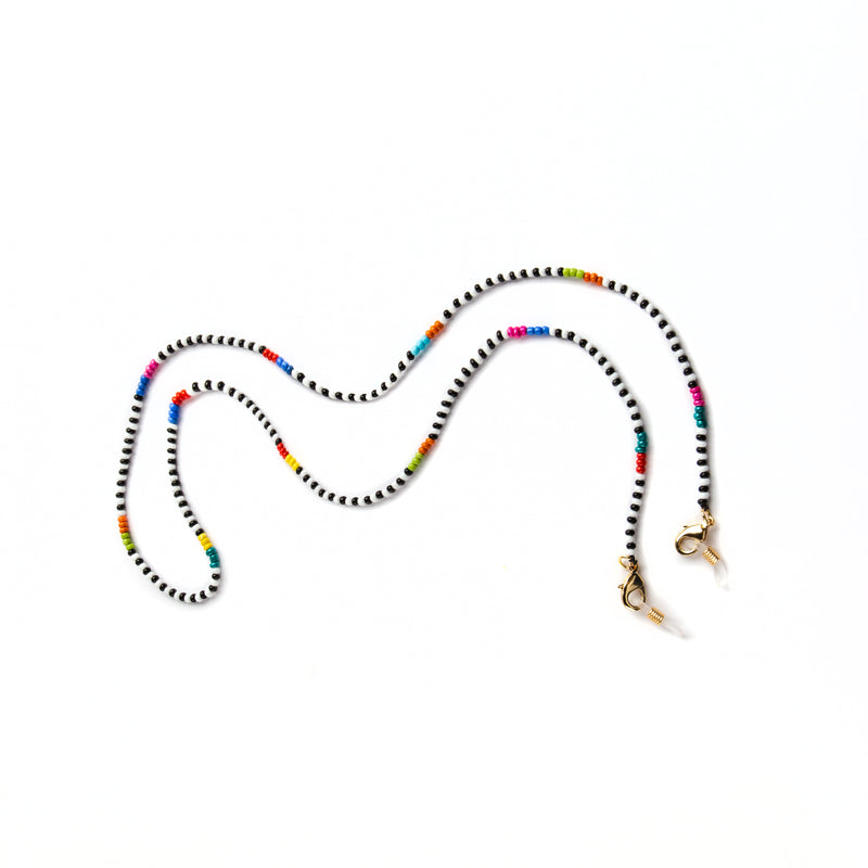 GLASSES AND MASK CHAIN WITH MULTICOLOR BEADS