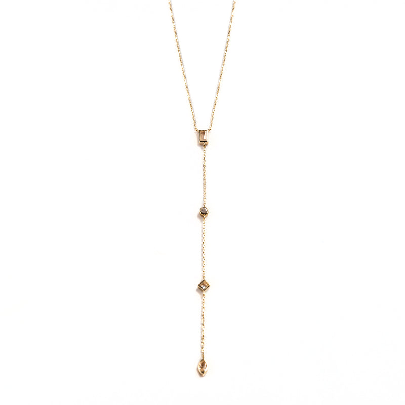 14K GOLD LARIAT WITH TOPAZ AND WHITE SAPPHIRE