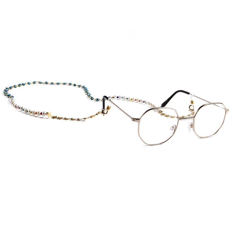 GLASSES AND MASK CHAIN WITH PEARLS MULTICOLOR BEADS AND EVIL EYE