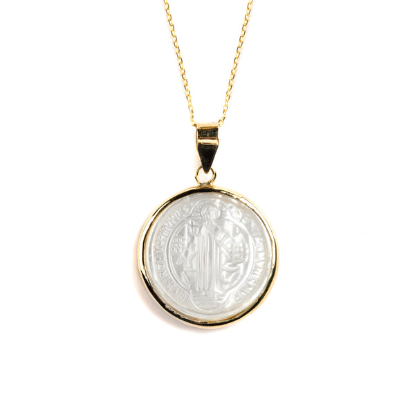 14K GOLD MEDAL WITH SAINT BENITO OF MOTHER OF PEARL