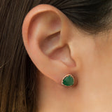 14K ROSE GOLD EARRINGS WITH DIAMONDS AND EMERALD