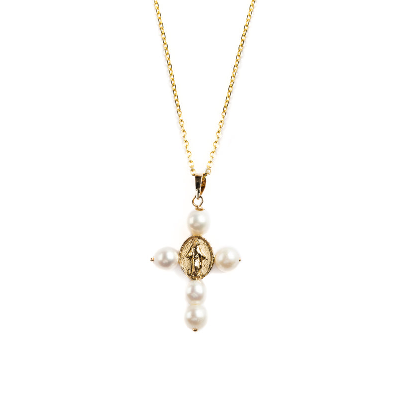 14K GOLD CROOS PENDAT WITH PEARLS