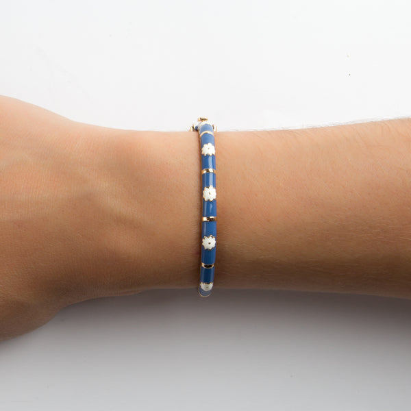 925 GOLD PLATED SILVER BRACELET WITH BLUE ENAMEL AND FLOWERS