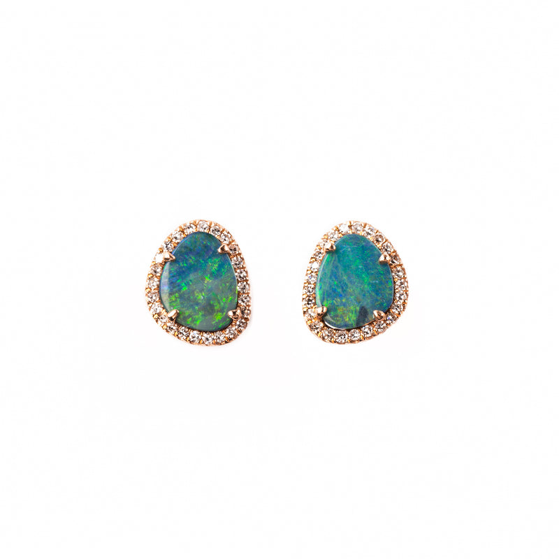 14K ROSE GOLD EARRINGS WITH DIAMONDS AND OPAL