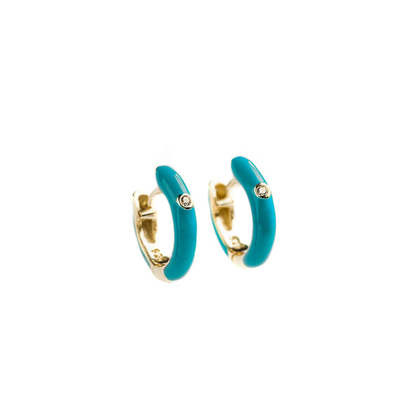 925 GOLD PLATED SILVER HUGGIES WITH TURQUOISE ENAMEL