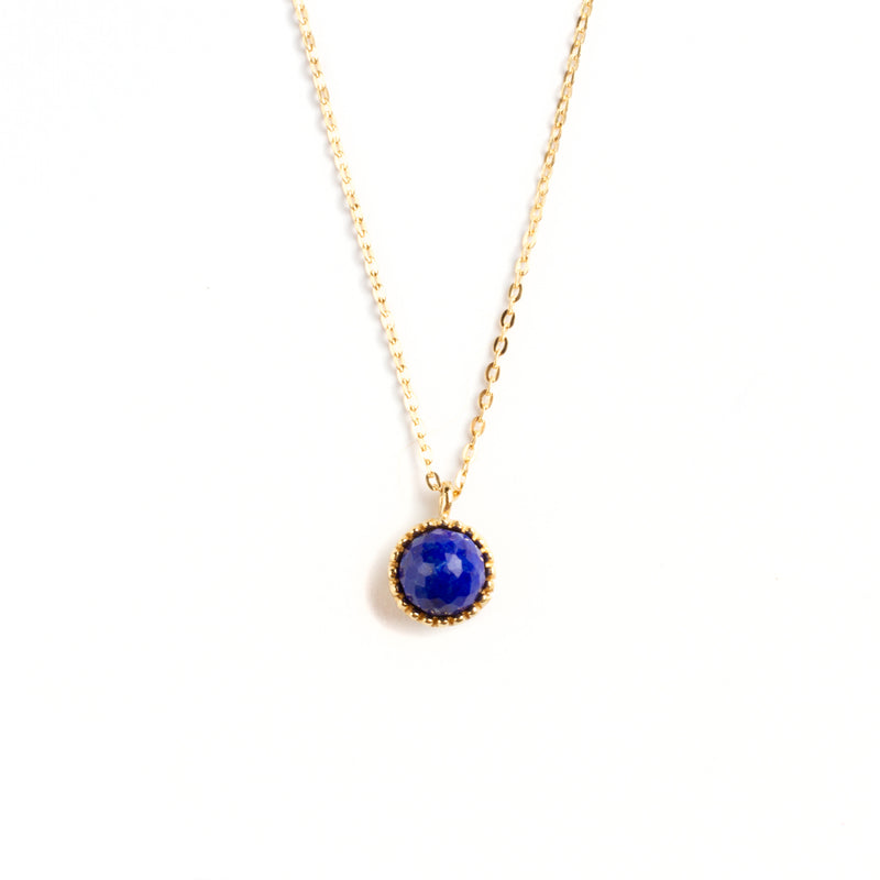 925 SILVER GOLD PLATED ROUND PENDANT WITH LAPIS LAZULI