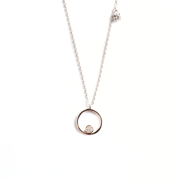 925 SILVER CHAIN WITH HALO CRYSTAL PENDANT
