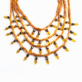 HO NECKLACE IN YELLOW HUE THREADS WITH GOLDEN AND BROWN BEATS