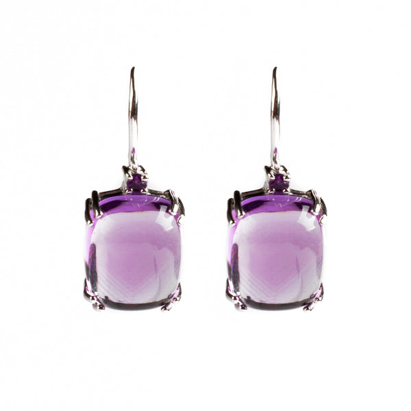 925 SILVER EARRINGS WITH BRAZILIAN AND AFIRCAN AMETHYST