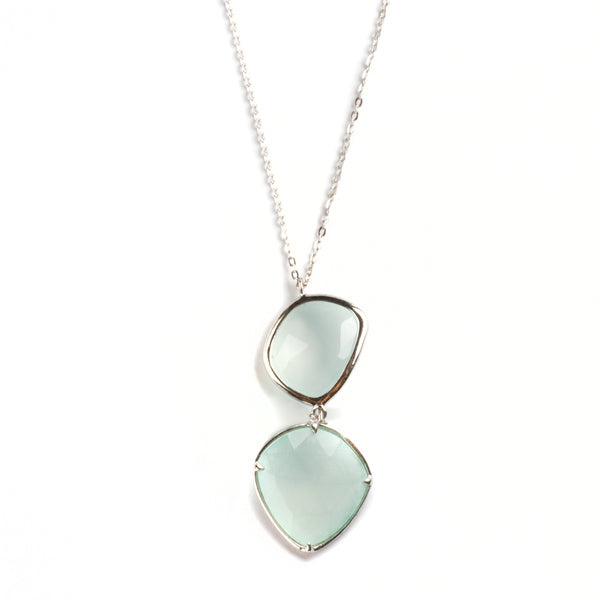 925 SILVER PENDAT WITH AQUA CHALCEDONY