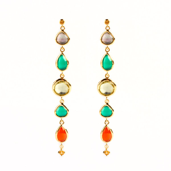 925 SILVER GOLD PLATED EARRINGS WITH LEMON QUARTZ GREEN ONIX AND CARNELIAN