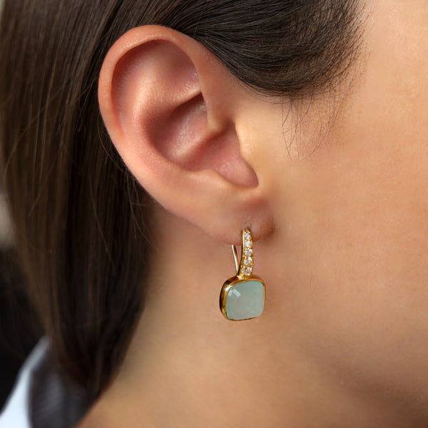 925 SILVER GOLD PLATED EARRINGS WITH AQUA CHALCEDONY AND ZIRCONIA