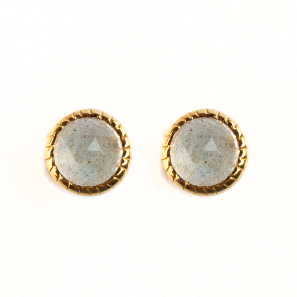 925 SILVER GOLD PLATED ROUND EARRINGS WITH LABRODOLITE.