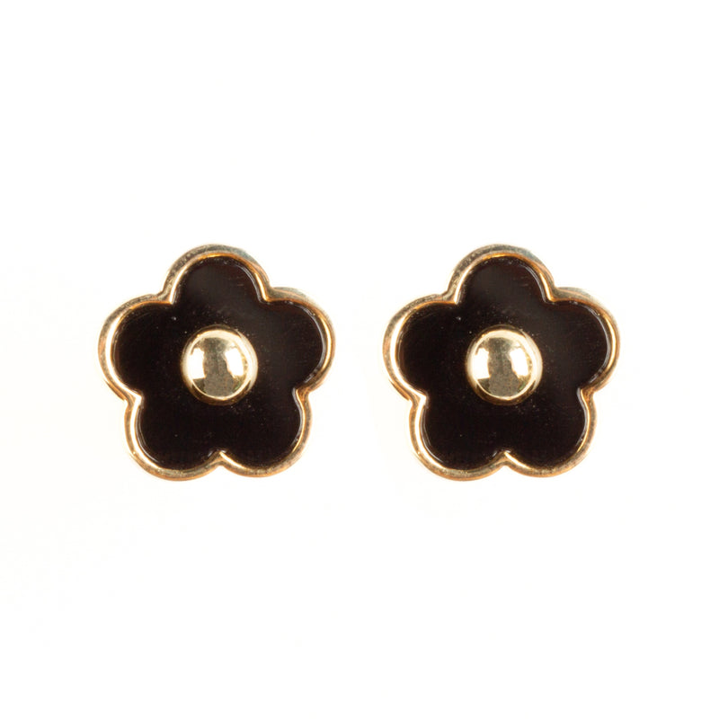 925 GOLD PLATED FLOWER EARRINGS WITH BLACK ONYX