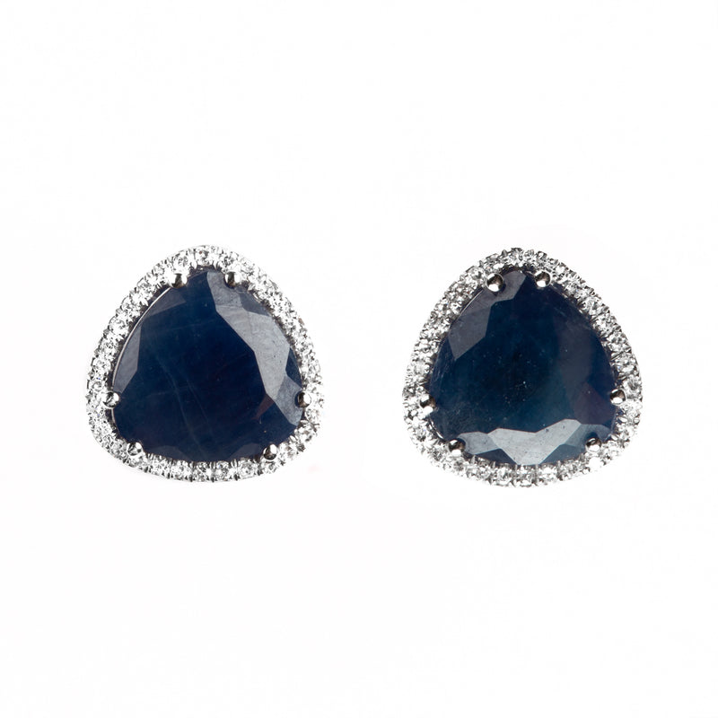 14K WHITE GOLD EARRINGS WITH DIAMONDS AND BLUE SAPPHIRE