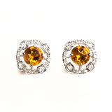 14K WHITE GOLD EARRINGS WITH DIAMONDS AND CITRINE