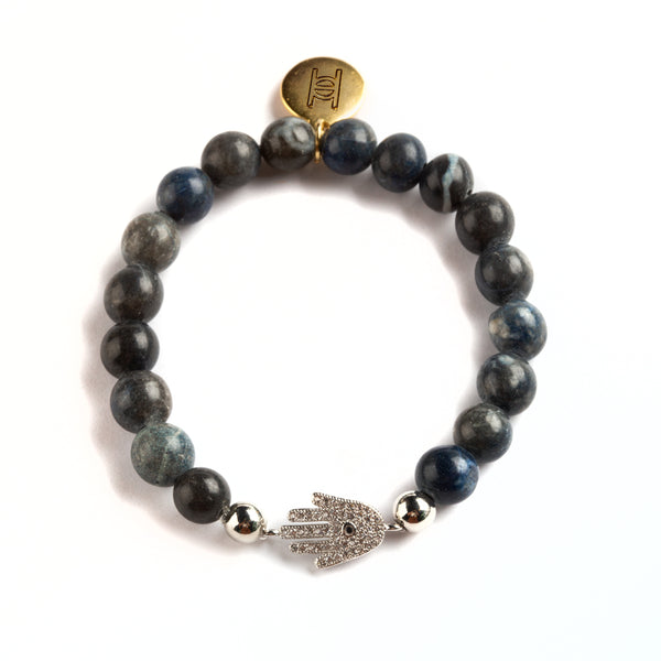 BRACELET WITH STONES AND HAMSA CHARM