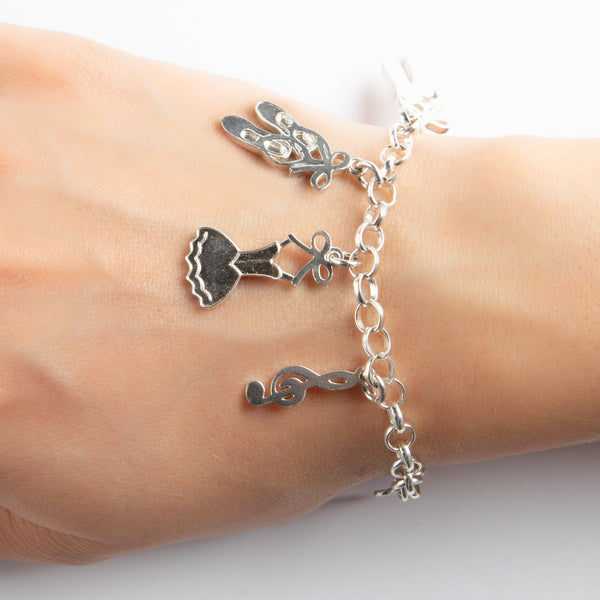 925 SILVER BRACELET WITH DANCE CHARMS