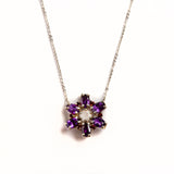 925 SILVER CHAIN WITH AMETHYST AND ROSE QUARTZ FLOWER PENDANT