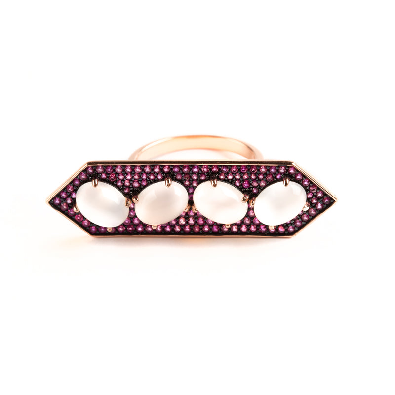 925 SILVER ROSEGOLD PLATEAD RING WITH PINK CRYSTALS AND ROSE QUARTZ