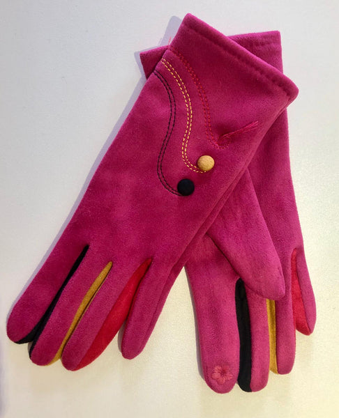 Pink Suede Effect Gloves