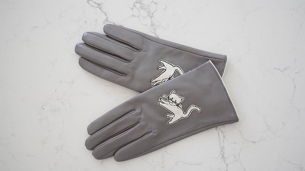Grey Cat Leather Gloves