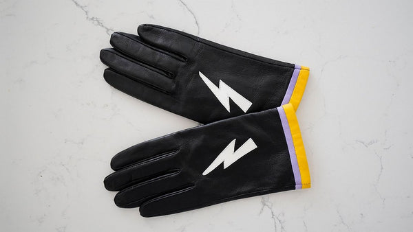 Black Lightning Bolt Leather Gloves