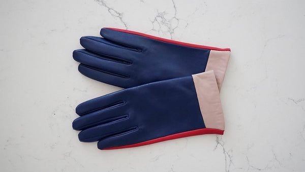 Colour Block Leather Gloves