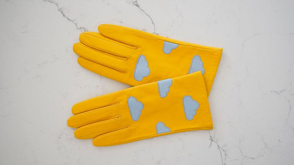 Cloud Yellow Leather Gloves