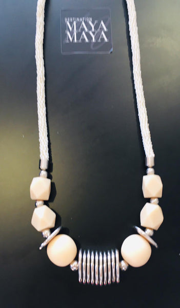 Cream and Silver Detail Necklace