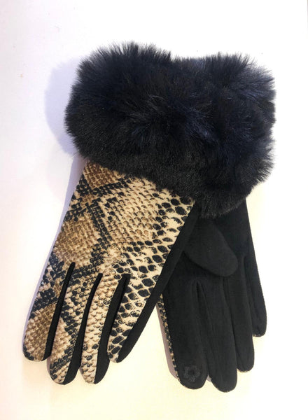 Snake Print Faux Fur Gloves