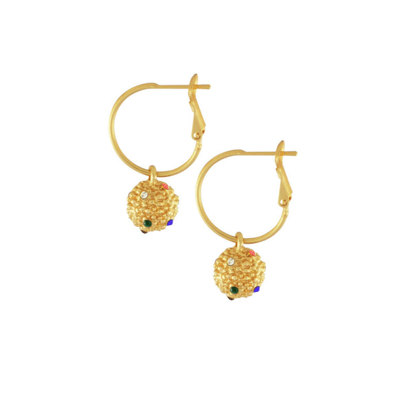 Rainbow Gold Plater Ball Drop Earrings