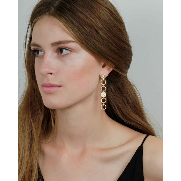 Long Drop Gold Earrings