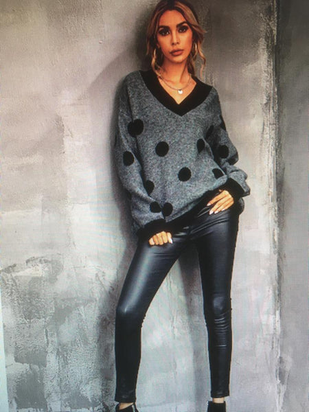 Grey Polka Dot Wool Mix Jumper