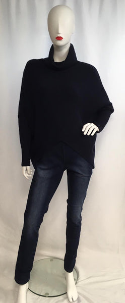 Roll neck V front sweater navy
