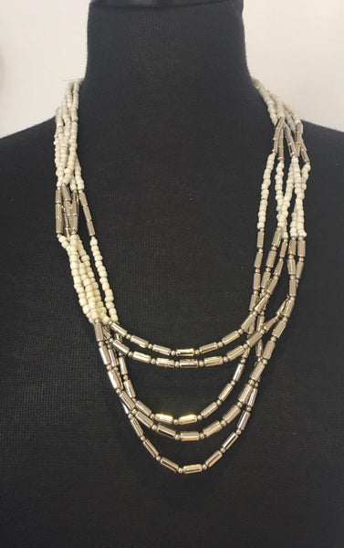 Cream and Silver Bead Necklace