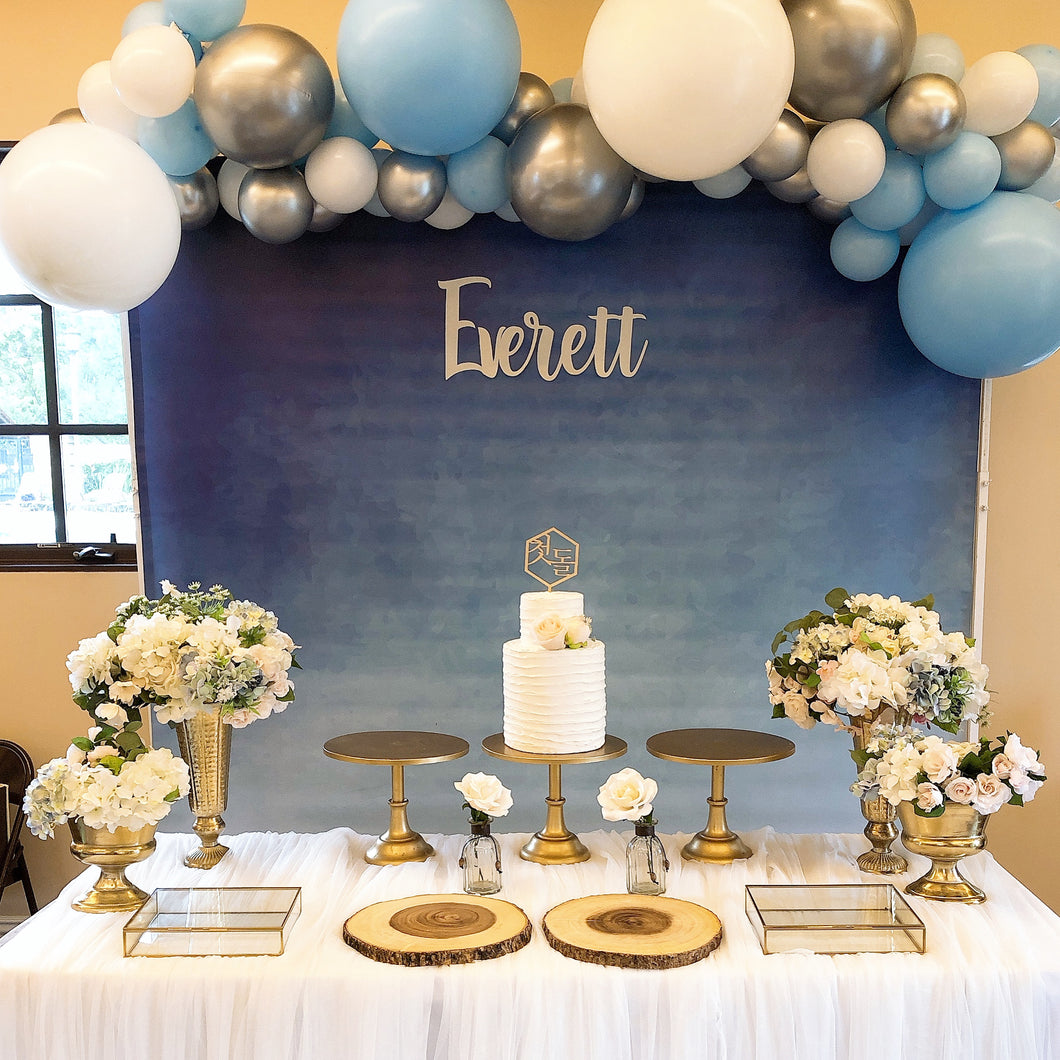 1ST -NAVY AND BLUE/SILVER BALLOONS