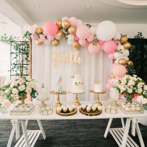 1ST -WHITE AND PINK GOLD BALLOONS