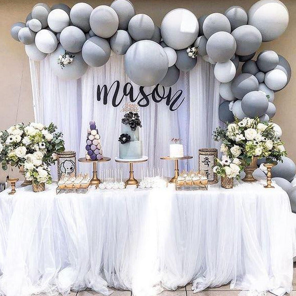 1ST -WHITE AND GRAY BALLOONS