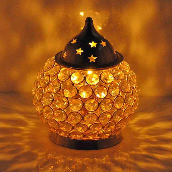 Akhand Diya Decorative Brass Crystal Tea Light Puja Lamp (Small) - Chirukaanuka