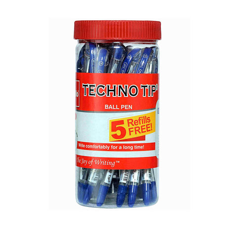 Cello Technotip Ball Pen Jar (Pack of 20 Blue Pens With 5 free Blue Refills)
