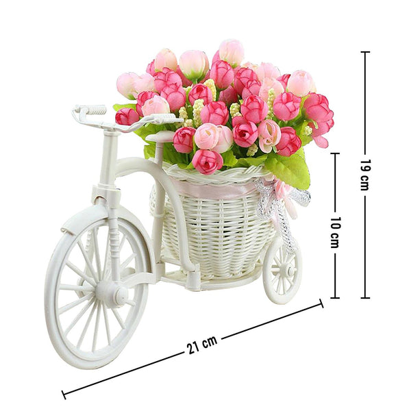 Cycle Shape Flower Vase With Pink Peonies Bunches - Chirukaanuka