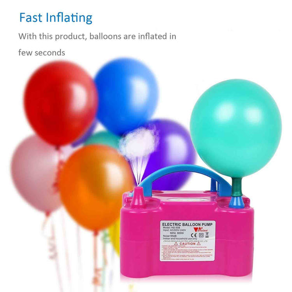 Dual Nozzle Rose Red Balloon Air Inflator Pump Portable - Chirukaanuka