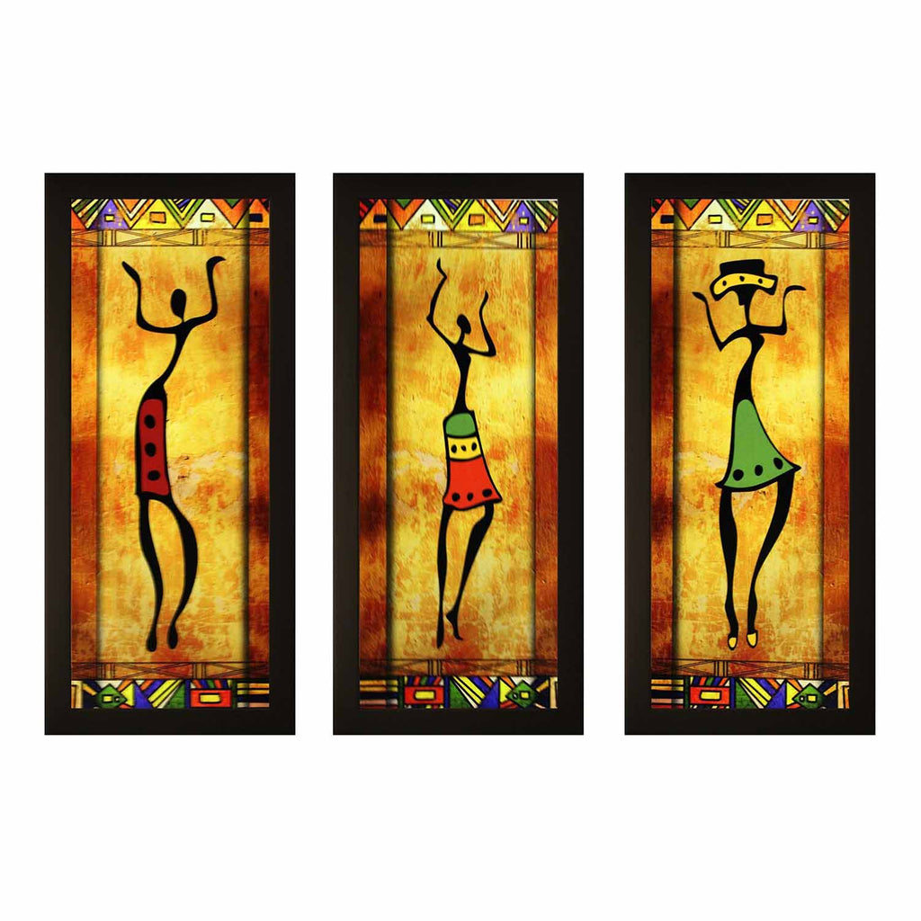 Set of 3 Textured UV Framed Painting - Chirukaanuka